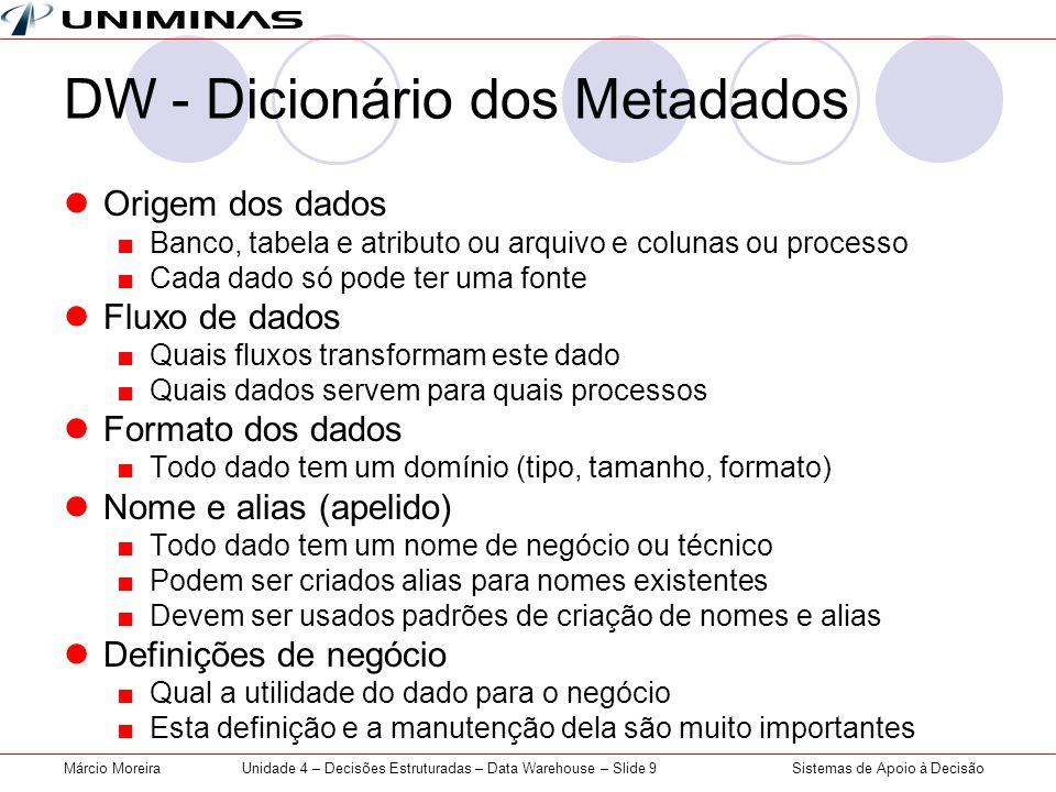 Sistemas de Apoio à DecisãoMárcio MoreiraUnidade 4 – Decisões Estruturadas – Data Warehouse – Slide 9 DW - Dicionário dos Metadados  Origem dos dados