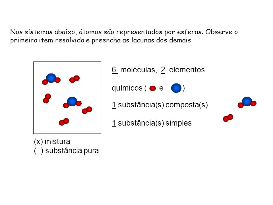 (x) mistura ( ) substância pura 6 moléculas, 2 elementos químicos ( e ) 1 substância(s) composta(s) 1 substância(s) simples Nos sistemas abaixo, átomo