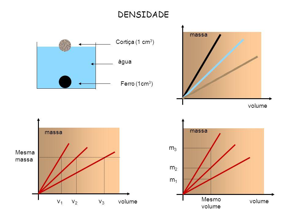 DENSIDADE massa volume Cortiça (1 cm 3 ) água Ferro (1cm 3 ) massa volume Mesmo volume m1m1 m2m2 m3m3 Mesma massa volume v1v1 v2v2 v3v3 massa