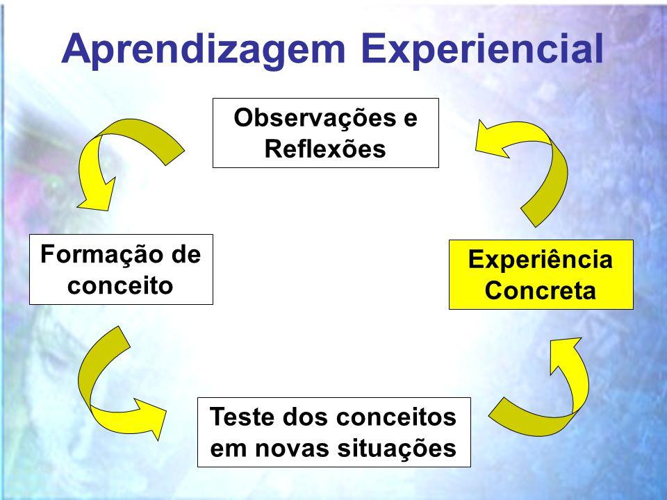 Aprendizagem Experiencial Experiência Concreta Observações e Reflexões Formação de conceito Teste dos conceitos em novas situações