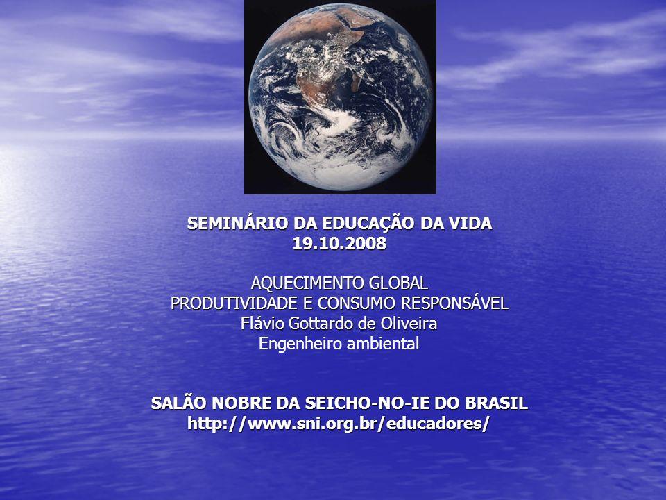 SEMINÁRIO DA EDUCAÇÃO DA VIDA 19.10.2008 AQUECIMENTO GLOBAL PRODUTIVIDADE E CONSUMO RESPONSÁVEL Flávio Gottardo de Oliveira Engenheiro ambiental SALÃO