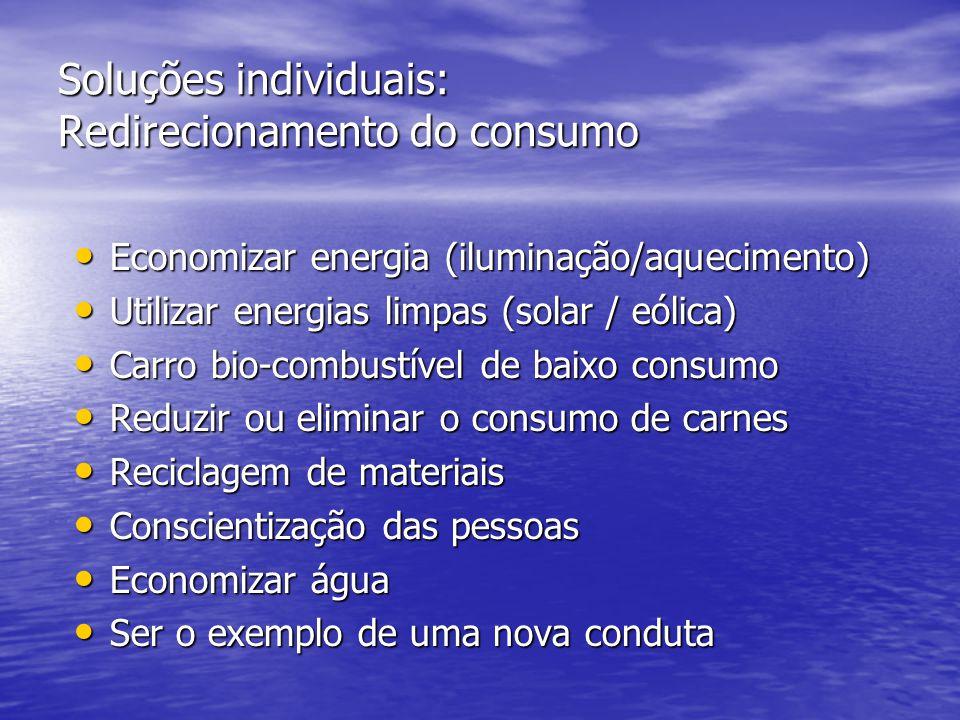 Soluções individuais: Redirecionamento do consumo • Economizar energia (iluminação/aquecimento) • Utilizar energias limpas (solar / eólica) • Carro bi