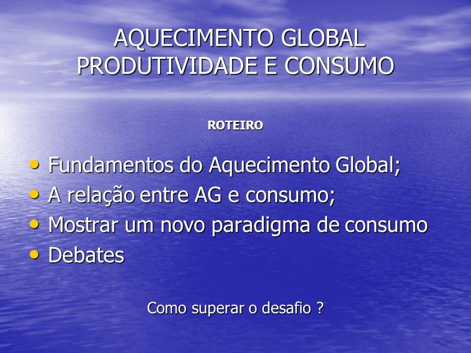 AQUECIMENTO GLOBAL PRODUTIVIDADE E CONSUMO AQUECIMENTO GLOBAL PRODUTIVIDADE E CONSUMO ROTEIRO • Fundamentos do Aquecimento Global; • A relação entre A