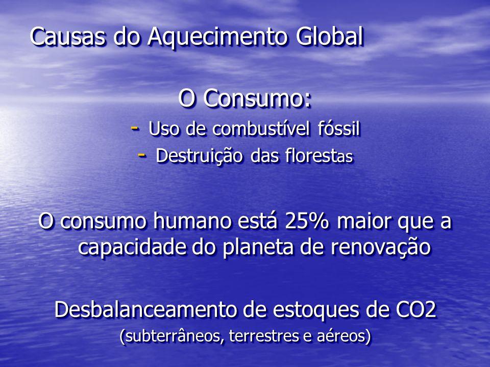 Causas do Aquecimento Global O Consumo: - Uso de combustível fóssil - Destruição das florest as O consumo humano está 25% maior que a capacidade do pl