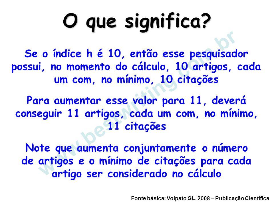 www.bestwriting.com.br Se o índice h é 10, então esse pesquisador possui, no momento do cálculo, 10 artigos, cada um com, no mínimo, 10 citações Para