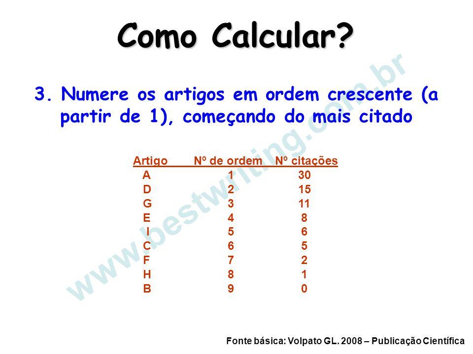 www.bestwriting.com.br Como Calcular? Fonte básica: Volpato GL. 2008 – Publicação Científica 3. Numere os artigos em ordem crescente (a partir de 1),