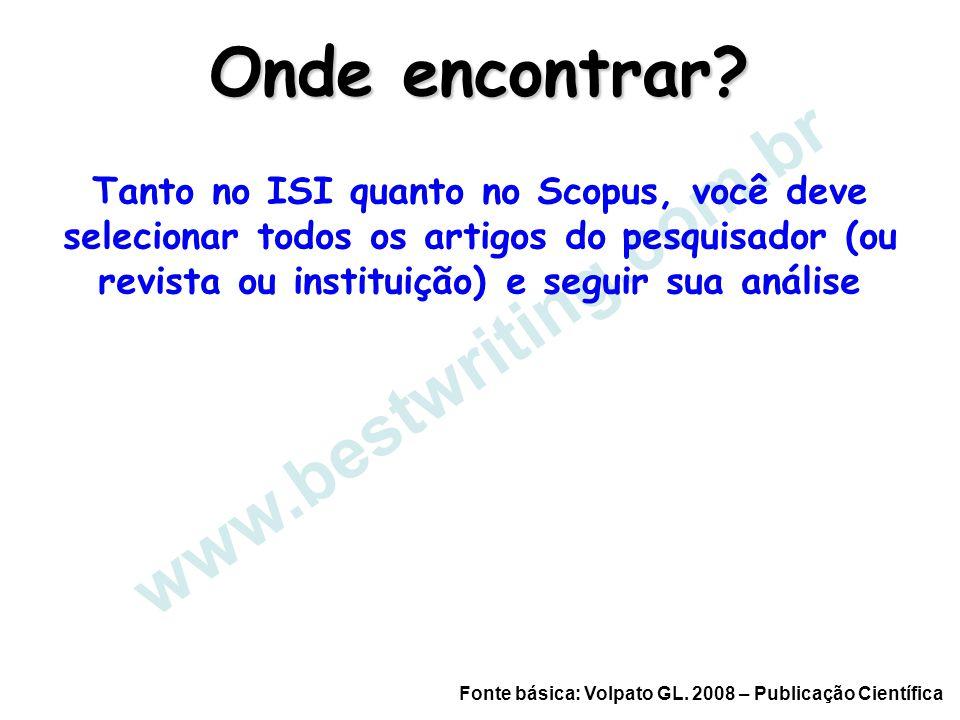 www.bestwriting.com.br Onde encontrar? Tanto no ISI quanto no Scopus, você deve selecionar todos os artigos do pesquisador (ou revista ou instituição)