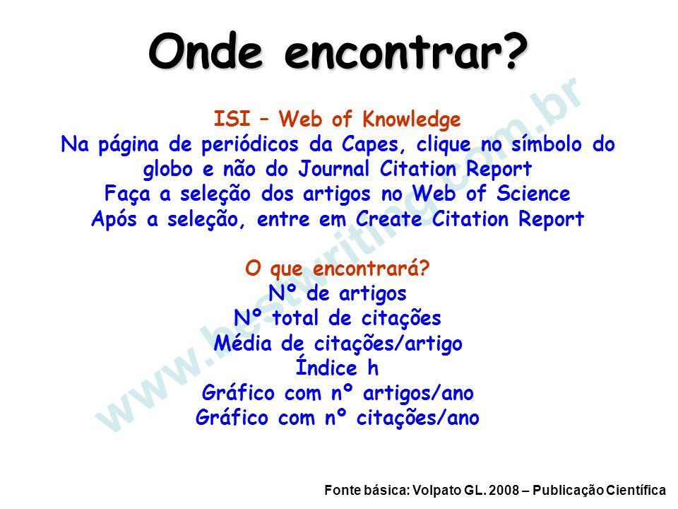 www.bestwriting.com.br Onde encontrar? Fonte básica: Volpato GL. 2008 – Publicação Científica ISI – Web of Knowledge Na página de periódicos da Capes,