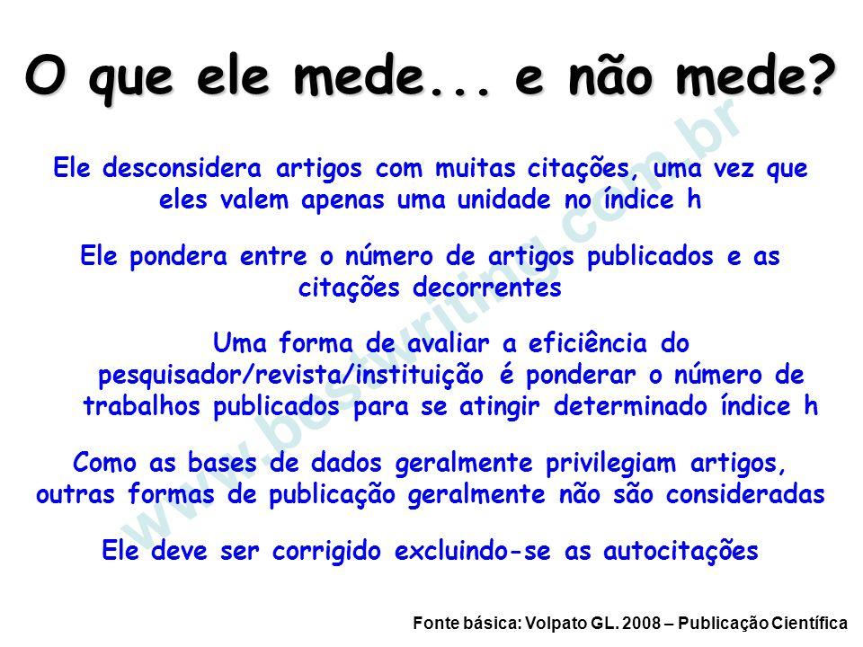 www.bestwriting.com.br O que ele mede... e não mede? Ele desconsidera artigos com muitas citações, uma vez que eles valem apenas uma unidade no índice