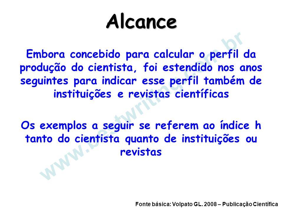 www.bestwriting.com.br Alcance Embora concebido para calcular o perfil da produção do cientista, foi estendido nos anos seguintes para indicar esse pe
