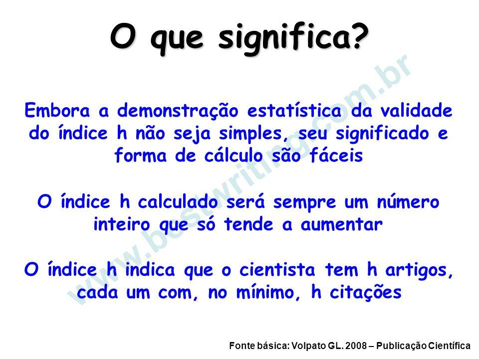 www.bestwriting.com.br O que significa? Embora a demonstração estatística da validade do índice h não seja simples, seu significado e forma de cálculo