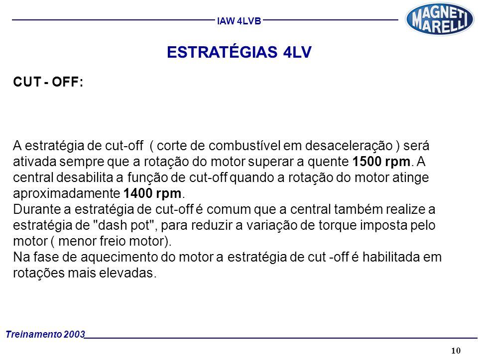 10A. TÉCNICA - 2002 - FORMAÇÃO Treinamento 2003 IAW 4LVB ESTRATÉGIAS 4LV CUT - OFF: A estratégia de cut-off ( corte de combustível em desaceleração )
