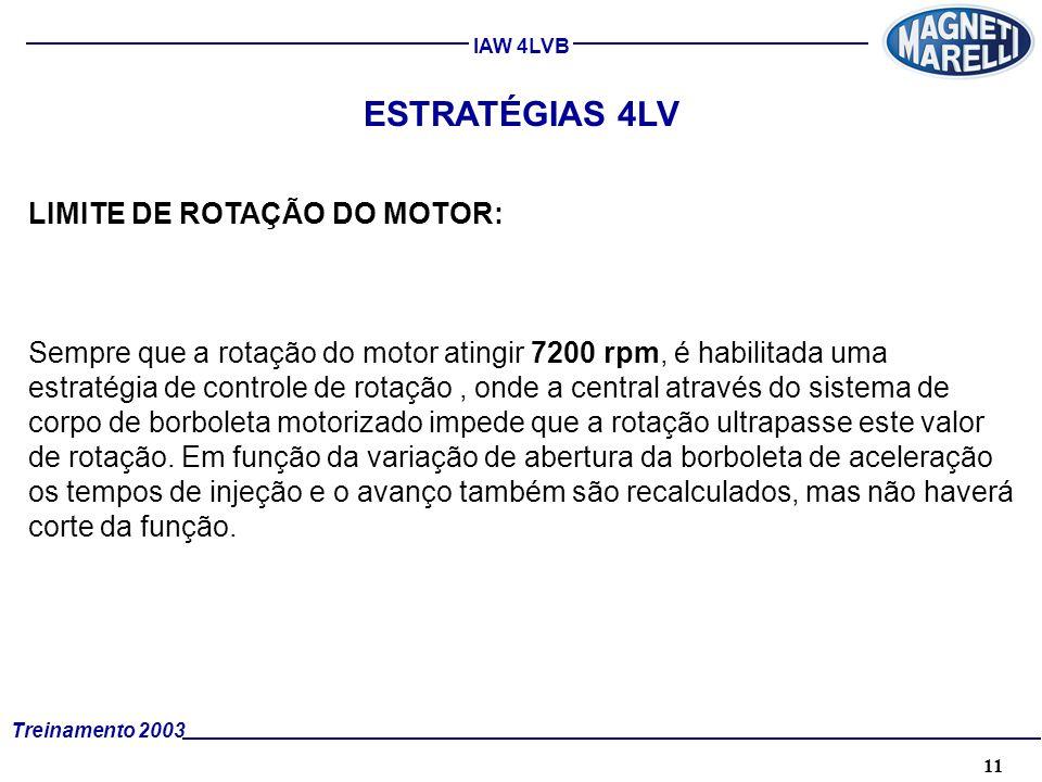11A. TÉCNICA - 2002 - FORMAÇÃO Treinamento 2003 IAW 4LVB ESTRATÉGIAS 4LV LIMITE DE ROTAÇÃO DO MOTOR: Sempre que a rotação do motor atingir 7200 rpm, é