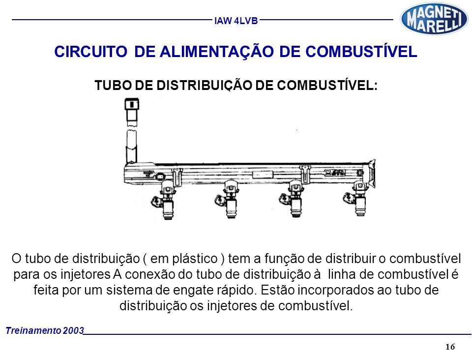 16A. TÉCNICA - 2002 - FORMAÇÃO Treinamento 2003 IAW 4LVB CIRCUITO DE ALIMENTAÇÃO DE COMBUSTÍVEL TUBO DE DISTRIBUIÇÃO DE COMBUSTÍVEL: O tubo de distrib