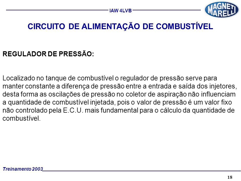 18A. TÉCNICA - 2002 - FORMAÇÃO Treinamento 2003 IAW 4LVB CIRCUITO DE ALIMENTAÇÃO DE COMBUSTÍVEL REGULADOR DE PRESSÃO: Localizado no tanque de combustí