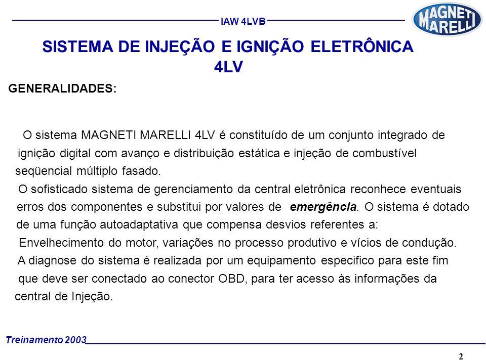 2A. TÉCNICA - 2002 - FORMAÇÃO Treinamento 2003 IAW 4LVB SISTEMA DE INJEÇÃO E IGNIÇÃO ELETRÔNICA 4LV GENERALIDADES: O sistema MAGNETI MARELLI 4LV é con