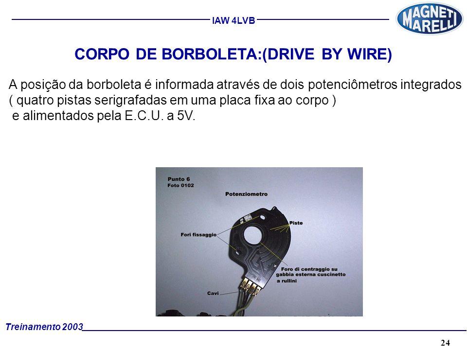 24A. TÉCNICA - 2002 - FORMAÇÃO Treinamento 2003 IAW 4LVB CORPO DE BORBOLETA:(DRIVE BY WIRE) A posição da borboleta é informada através de dois potenci