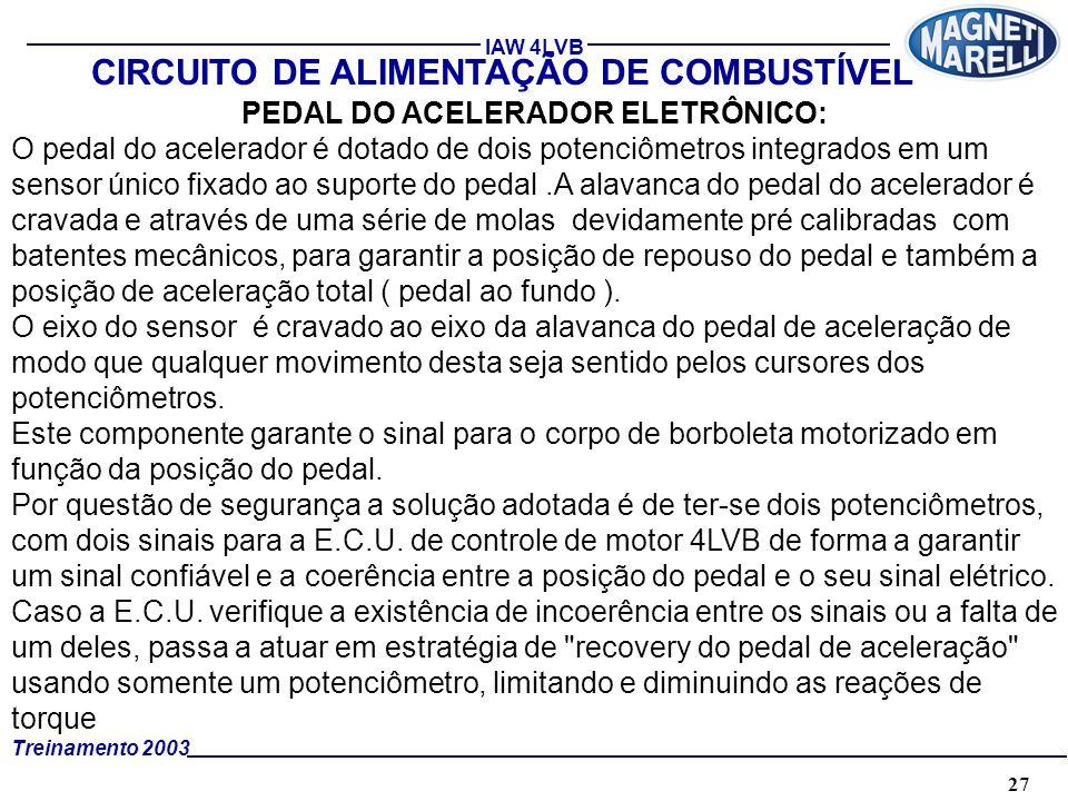 27A. TÉCNICA - 2002 - FORMAÇÃO Treinamento 2003 IAW 4LVB CIRCUITO DE ALIMENTAÇÃO DE COMBUSTÍVEL PEDAL DO ACELERADOR ELETRÔNICO: O pedal do acelerador
