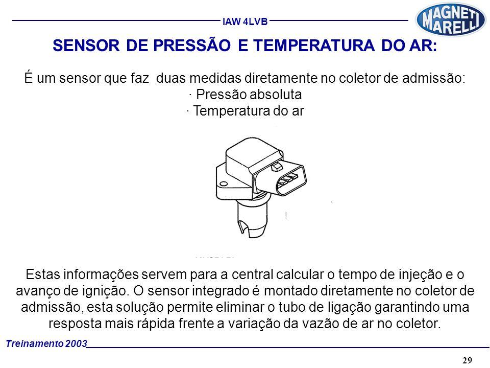 29A. TÉCNICA - 2002 - FORMAÇÃO Treinamento 2003 IAW 4LVB SENSOR DE PRESSÃO E TEMPERATURA DO AR: É um sensor que faz duas medidas diretamente no coleto