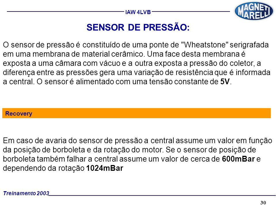 30A. TÉCNICA - 2002 - FORMAÇÃO Treinamento 2003 IAW 4LVB SENSOR DE PRESSÃO: O sensor de pressão é constituído de uma ponte de