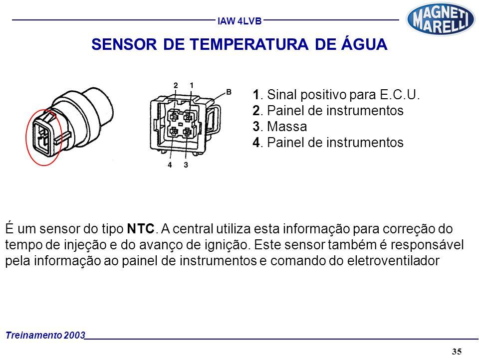 35A. TÉCNICA - 2002 - FORMAÇÃO Treinamento 2003 IAW 4LVB SENSOR DE TEMPERATURA DE ÁGUA É um sensor do tipo NTC. A central utiliza esta informação para