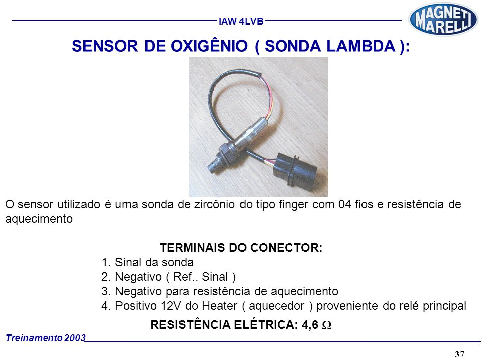 37A. TÉCNICA - 2002 - FORMAÇÃO Treinamento 2003 IAW 4LVB SENSOR DE OXIGÊNIO ( SONDA LAMBDA ): O sensor utilizado é uma sonda de zircônio do tipo finge