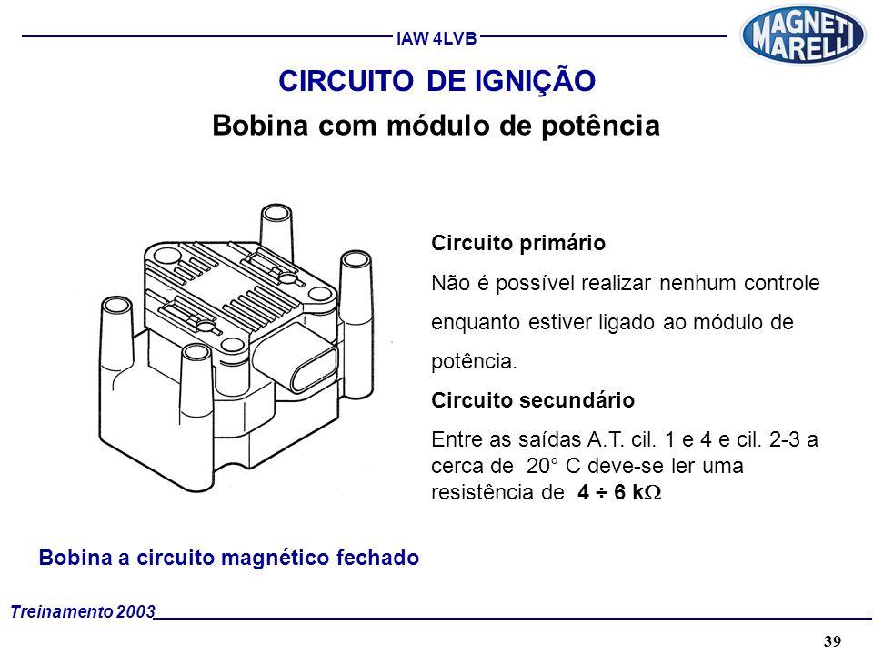39A. TÉCNICA - 2002 - FORMAÇÃO Treinamento 2003 IAW 4LVB CIRCUITO DE IGNIÇÃO Bobina com módulo de potência Circuito primário Não é possível realizar n