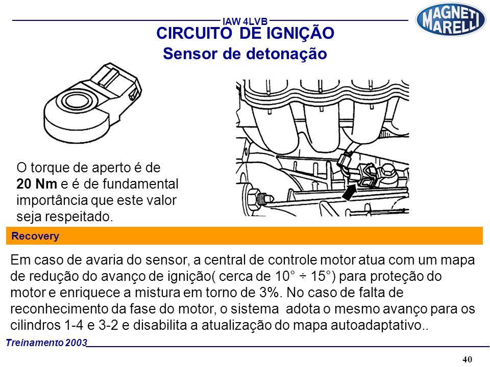40A. TÉCNICA - 2002 - FORMAÇÃO Treinamento 2003 IAW 4LVB Sensor de detonação O torque de aperto é de 20 Nm e é de fundamental importância que este val
