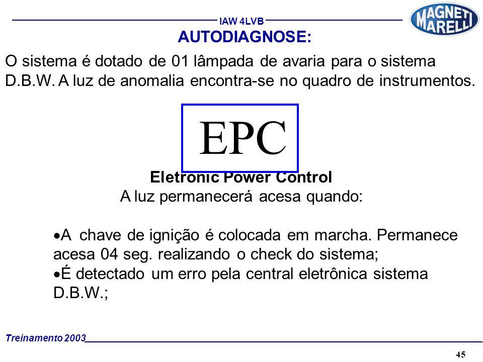 45A. TÉCNICA - 2002 - FORMAÇÃO Treinamento 2003 IAW 4LVB AUTODIAGNOSE: O sistema é dotado de 01 lâmpada de avaria para o sistema D.B.W. A luz de anoma