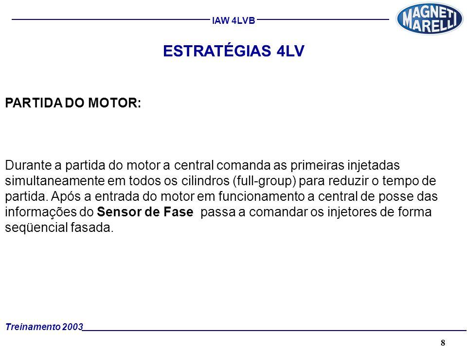 8A. TÉCNICA - 2002 - FORMAÇÃO Treinamento 2003 IAW 4LVB ESTRATÉGIAS 4LV PARTIDA DO MOTOR: Durante a partida do motor a central comanda as primeiras in