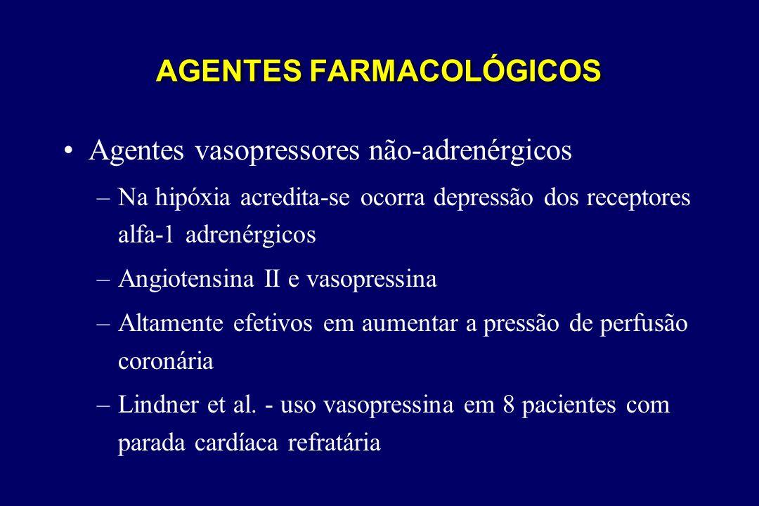 AGENTES FARMACOLÓGICOS •Agentes vasopressores não-adrenérgicos –Na hipóxia acredita-se ocorra depressão dos receptores alfa-1 adrenérgicos –Angiotensi