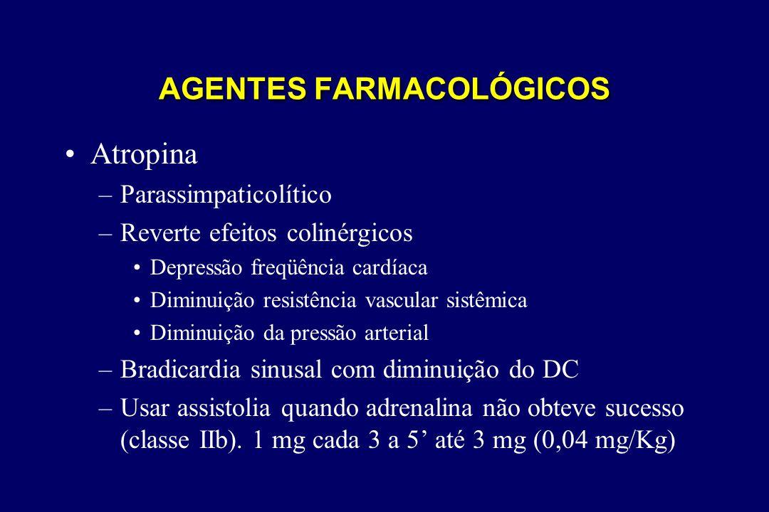 •Atropina –Parassimpaticolítico –Reverte efeitos colinérgicos •Depressão freqüência cardíaca •Diminuição resistência vascular sistêmica •Diminuição da