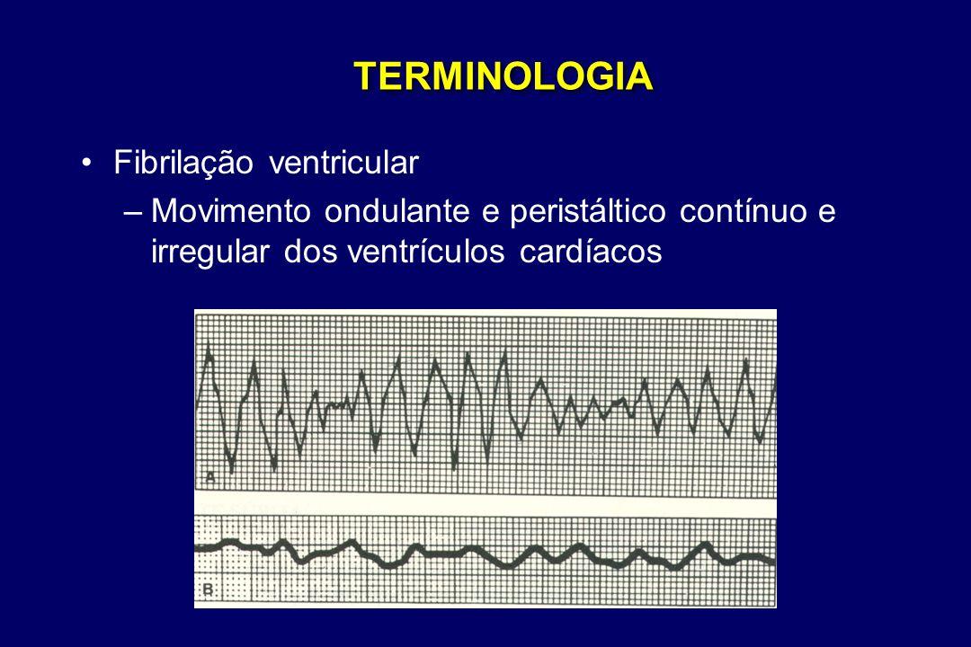TERMINOLOGIA •Fibrilação ventricular –Movimento ondulante e peristáltico contínuo e irregular dos ventrículos cardíacos