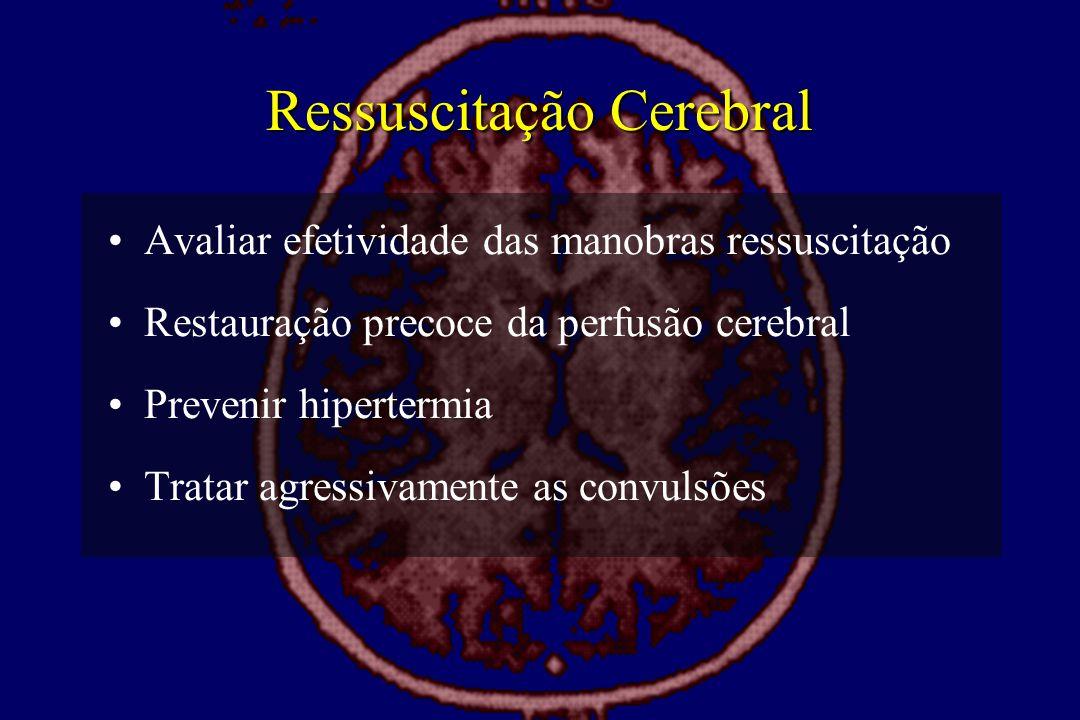 Ressuscitação Cerebral •Avaliar efetividade das manobras ressuscitação •Restauração precoce da perfusão cerebral •Prevenir hipertermia •Tratar agressi