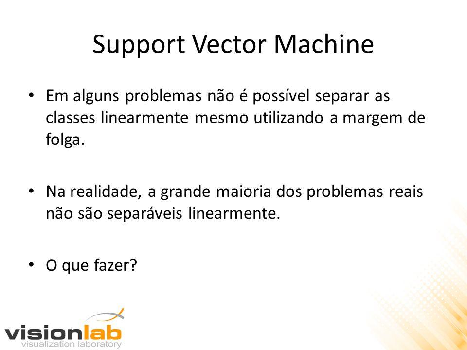 Support Vector Machine • Em alguns problemas não é possível separar as classes linearmente mesmo utilizando a margem de folga. • Na realidade, a grand