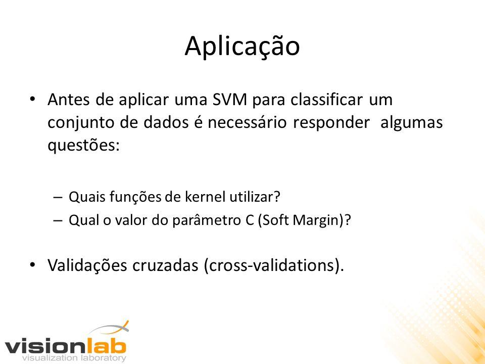 Aplicação • Antes de aplicar uma SVM para classificar um conjunto de dados é necessário responder algumas questões: – Quais funções de kernel utilizar