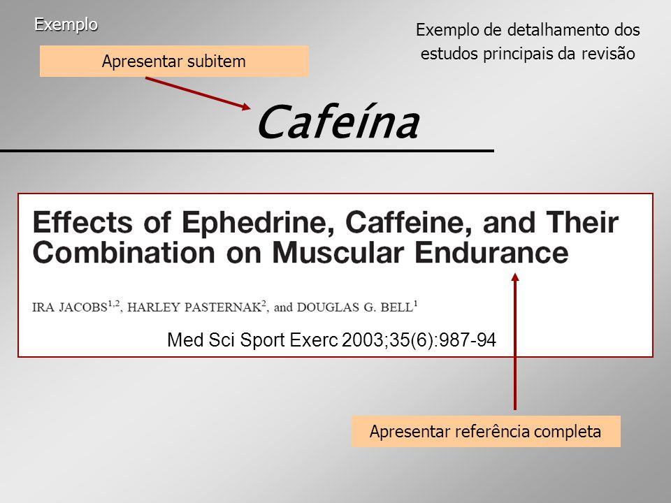 Cafeína Med Sci Sport Exerc 2003;35(6):987-94 Exemplo de detalhamento dos estudos principais da revisão Apresentar referência completa Apresentar subitem Exemplo