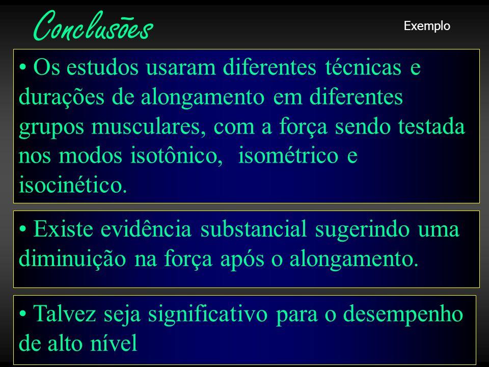 Laboratório • Existe evidência substancial sugerindo uma diminuição na força após o alongamento.