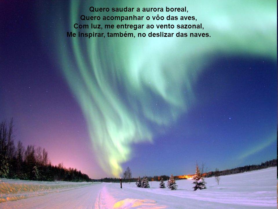 Quero saudar a aurora boreal, Quero acompanhar o vôo das aves, Com luz, me entregar ao vento sazonal, Me inspirar, também, no deslizar das naves.