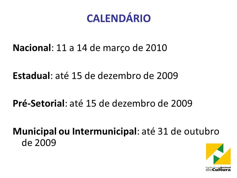 CALENDÁRIO Nacional: 11 a 14 de março de 2010 Estadual: até 15 de dezembro de 2009 Pré-Setorial: até 15 de dezembro de 2009 Municipal ou Intermunicipal: até 31 de outubro de 2009