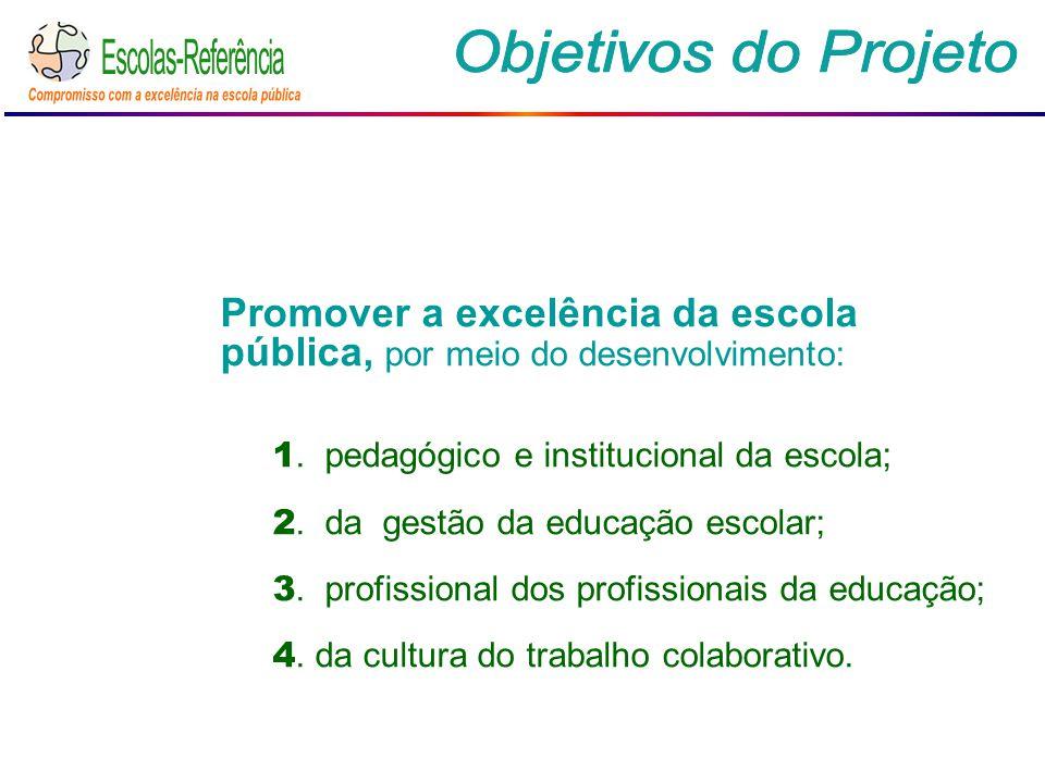 Promover a excelência da escola pública, por meio do desenvolvimento: 1. pedagógico e institucional da escola; 2. da gestão da educação escolar; 3. pr