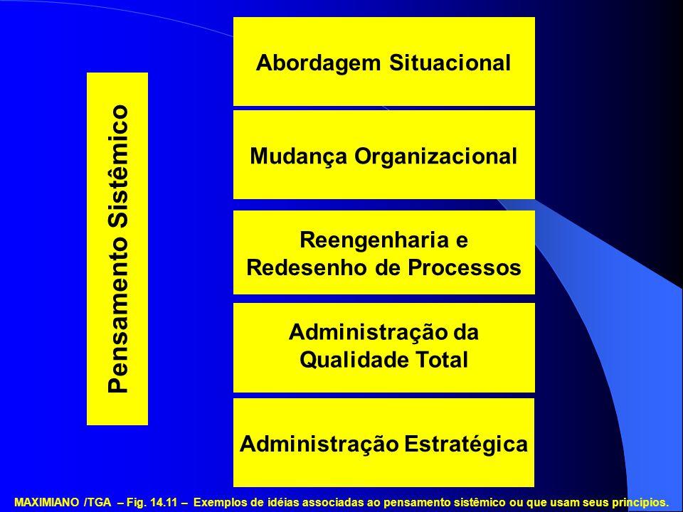 Administração Estratégica Administração da Qualidade Total Reengenharia e Redesenho de Processos Mudança Organizacional Abordagem Situacional Pensamen