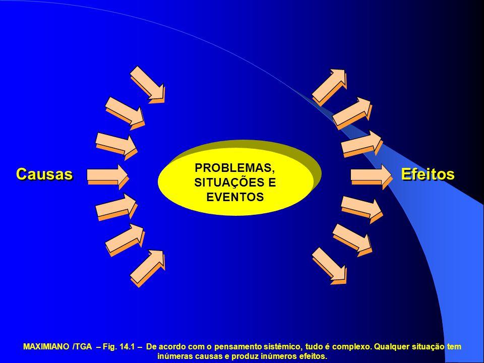 PROBLEMAS, SITUAÇÕES E EVENTOS Causas Efeitos MAXIMIANO /TGA – Fig. 14.1 – De acordo com o pensamento sistêmico, tudo é complexo. Qualquer situação te