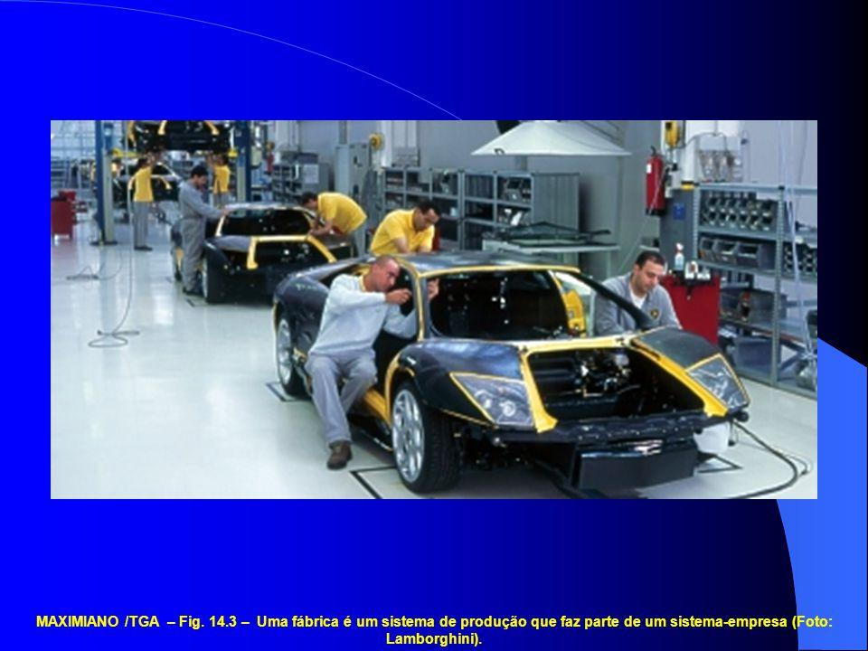 MAXIMIANO /TGA – Fig. 14.3 – Uma fábrica é um sistema de produção que faz parte de um sistema-empresa (Foto: Lamborghini).