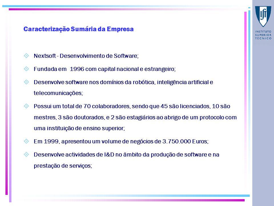 Caracterização Sumária da Empresa  Nextsoft - Desenvolvimento de Software;  Fundada em 1996 com capital nacional e estrangeiro;  Desenvolve software nos domínios da robótica, inteligência artificial e telecomunicações;  Possui um total de 70 colaboradores, sendo que 45 são licenciados, 10 são mestres, 3 são doutorados, e 2 são estagiários ao abrigo de um protocolo com uma instituição de ensino superior;  Em 1999, apresentou um volume de negócios de 3.750.000 Euros;  Desenvolve actividades de I&D no âmbito da produção de software e na prestação de serviços;