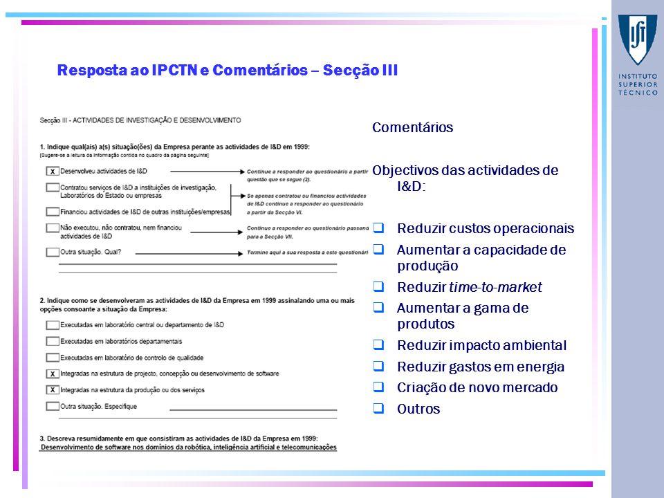 Resposta ao IPCTN e Comentários – Secção III