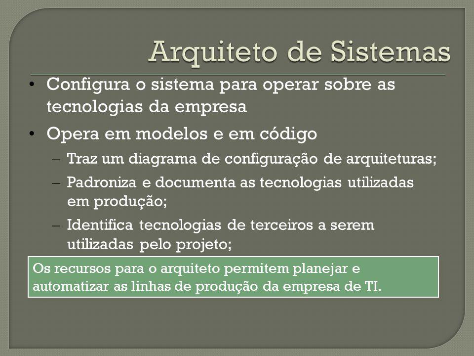 • Configura o sistema para operar sobre as tecnologias da empresa • Opera em modelos e em código – Traz um diagrama de configuração de arquiteturas; –