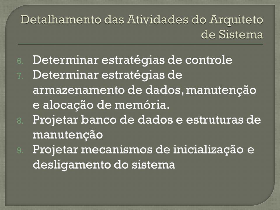 6. Determinar estratégias de controle 7. Determinar estratégias de armazenamento de dados, manutenção e alocação de memória. 8. Projetar banco de dado