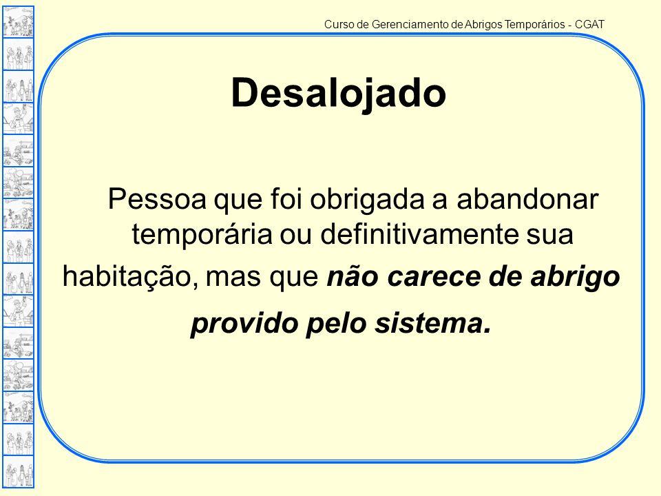 Curso de Gerenciamento de Abrigos Temporários - CGAT Pessoa que foi obrigada a abandonar temporária ou definitivamente sua habitação, mas que não carece de abrigo provido pelo sistema.