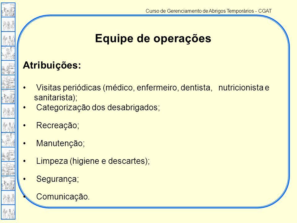 Curso de Gerenciamento de Abrigos Temporários - CGAT Equipe de operações Atribuições: • Visitas periódicas (médico, enfermeiro, dentista, nutricionista e sanitarista); • Categorização dos desabrigados; • Recreação; • Manutenção; • Limpeza (higiene e descartes); • Segurança; • Comunicação.